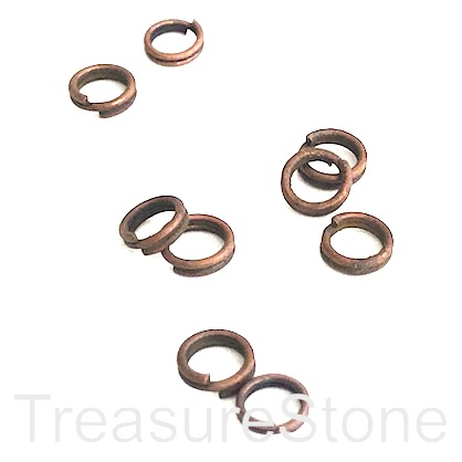 Split ring, copper-coloured, 5mm round. Pkg of 100.