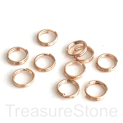 Split ring, steel, gold-coloured, 6mm round. Pkg of 100.