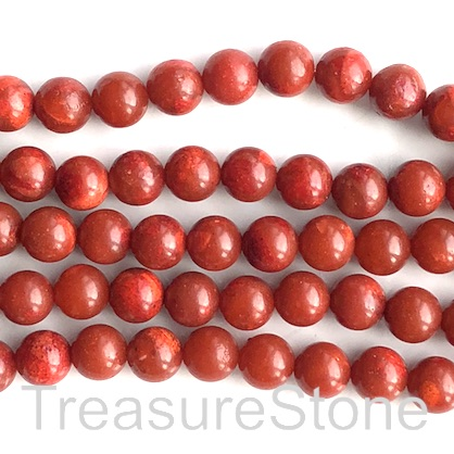 Bead, sponge coral (dyed), red, 8mm round. 15.5-inch, 47pcs