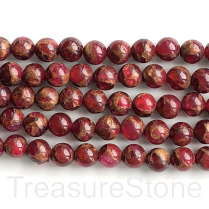 "Bead, sponge quartz in resin (dyed), red, 8mm round. 15"", 48"