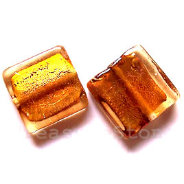 Bead, lampworked glass, gold, 20x6mm square. Pkg of 5.