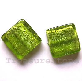 Bead, lampworked glass, green, 20x6mm square. Pkg of 5