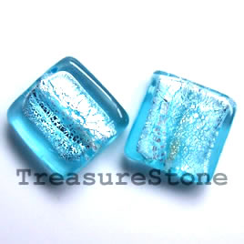 Bead, lampworked glass, blue, 20x6mm square. Pkg of 5.