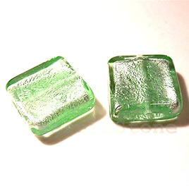 Bead, lampworked glass, green, 20x6mm square. Pkg of 5.