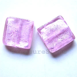 Bead, lampworked glass, pink, 20x6mm square. Pkg of 5.
