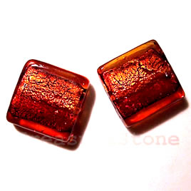 Bead, lampworked glass, red, 20x6mm square. Pkg of 5.