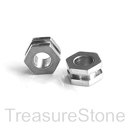 Bead, stainless steel, 5x7mm 6 side disk, large hole, 4mm. Each