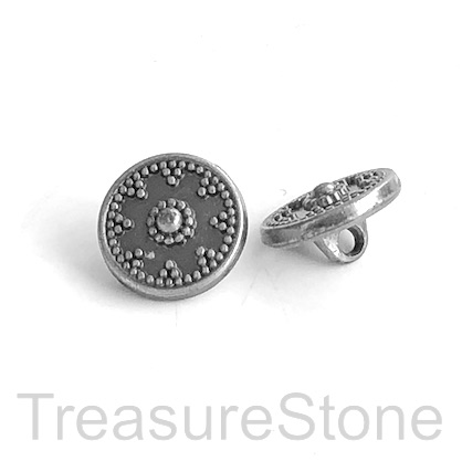 Bead, button, stainless steel, 12mm. Each