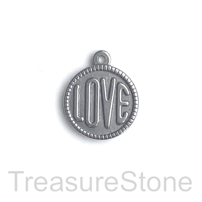 Charm, stainless steel, 17mm LOVE. pack of 2.