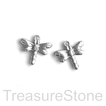 Charm, stainless steel, 13x17mm dragonfly. pack of 3