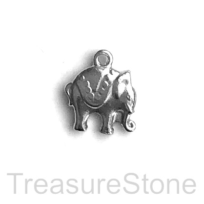 Charm, stainless steel, 12mm elephant. pack of 3
