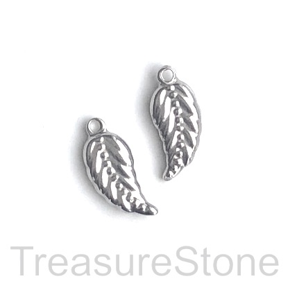 Charm, stainless steel, 8x16mm feather. pack of 3
