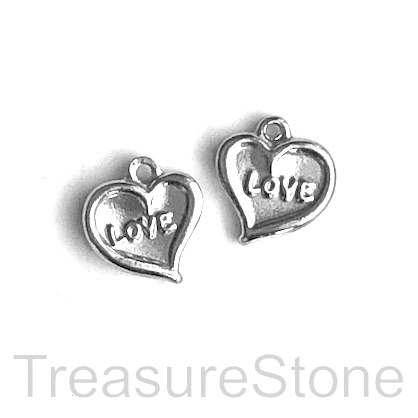 Charm, stainless steel, 12mm LOVE heart. pack of 3