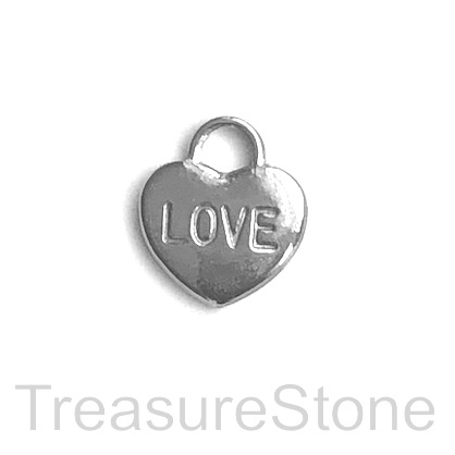 Charm, stainless steel, 15mm LOVE heart. pack of 2.