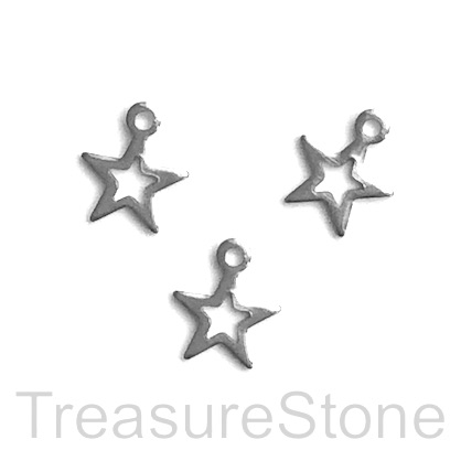 Charm, stainless steel, 9mm open star. pack of 7