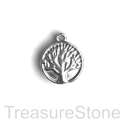 Charm, stainless steel, 13mm tree of life. pack of 3