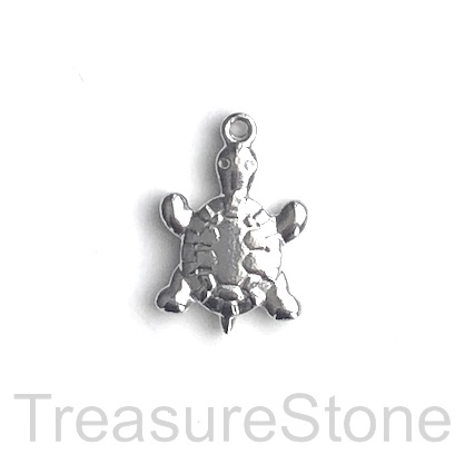 Charm, stainless steel, 13x17mm turtle. pack of 3