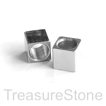 Bead, stainless steel, 8mm cube, large hole, 6mm. Each