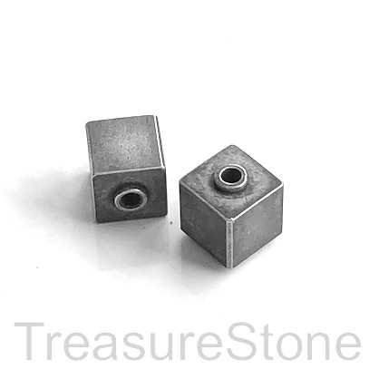 Bead, stainless steel, 8mm cube, grey. Each