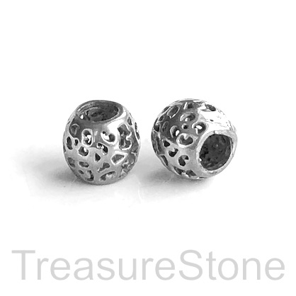 Bead, stainless steel, 8x9mm filigree drum, large hole, 4mm. Ea