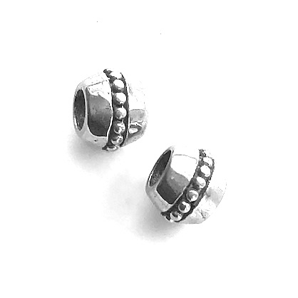 Bead, stainless steel, 8x9mm drum 2, large hole, 5mm. Each
