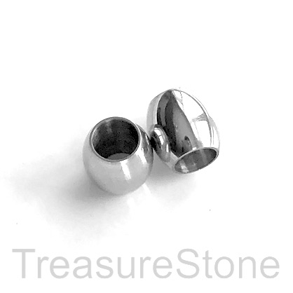 Bead, stainless steel, 8x9mm drum, large hole, 6mm. Each