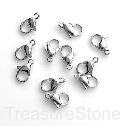 Clasp, lobster claw, stainless steel, 7x12mm. Pack of 4