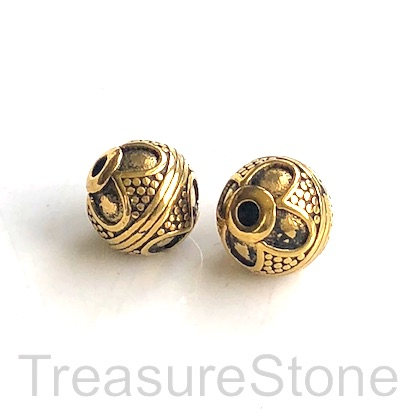 Bead, stainless steel, 9x10mm patterned round, gold. Each