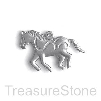 Charm, pendant, stainless steel,23x36mm horse. Each