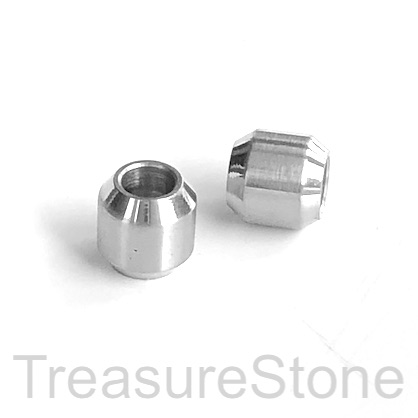 Bead, stainless steel, large hole 4mm, 9mm tube. Each