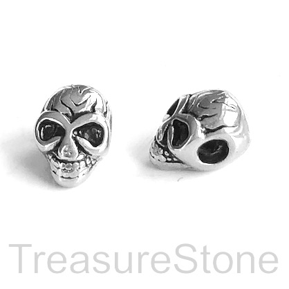 Bead, stainless steel, 9x12mm skull. Each