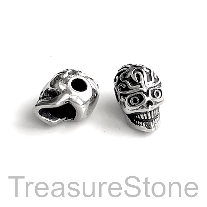 Bead, stainless steel, 8x12mm skull. Each