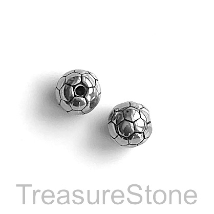 Bead, stainless steel, 9mm soccer ball. Each