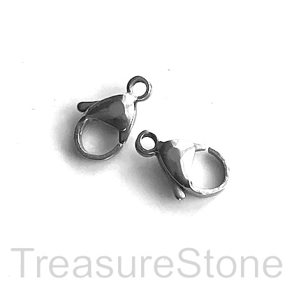 Clasp, lobster claw, stainless steel, 12mm. each