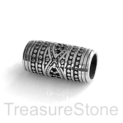 Bead, stainless steel, large hole, 8mm, 11x24mm tube. Each