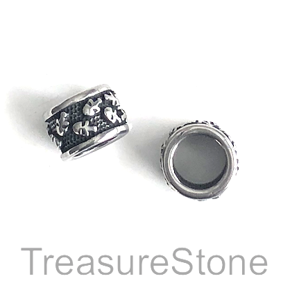 Bead, stainless steel, large hole, 8mm, 9x12mm tube. Each