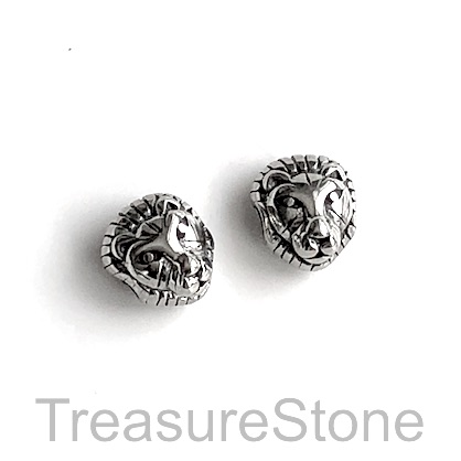 Bead, stainless steel, 10x12mm tiger/lion head. Each
