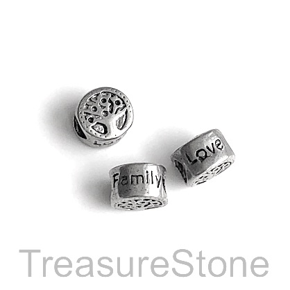 Bead, stainless steel, large hole, 4mm, 10x7mm Tree of life.Each