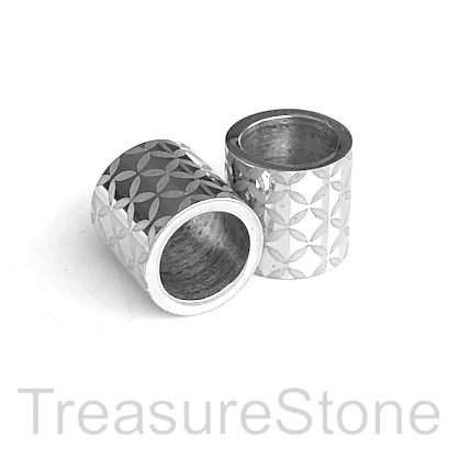 Bead, stainless steel, 10mm tube, large hole, 7mm. Each