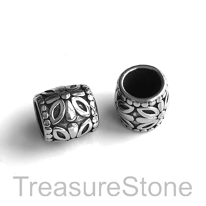 Bead, stainless steel, large hole, 13mm tube. Each