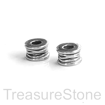 Bead, stainless steel, 5x8mm tube, large hole, 3mm.Ea