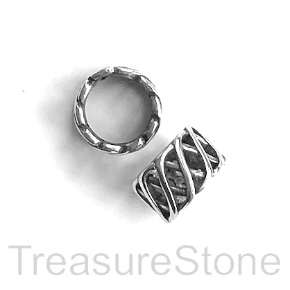 Bead, stainless steel, 7x11mm filigree tube, large hole, 8mm. ea
