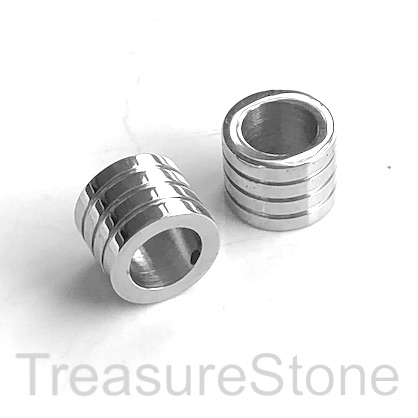 Bead, stainless steel, 8x10mm lined tube, large hole, 6mm. Ea