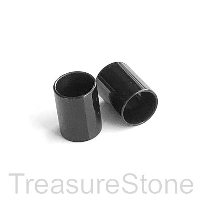 Bead, stainless steel, black, 7x10mm tube, large hole, 6mm. Each