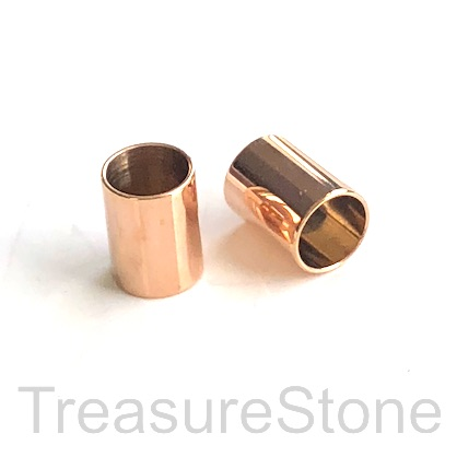 Bead, stainless steel, rose gold,7x10mm tube, large hole, 6mm.Ea