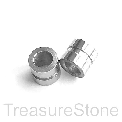 Bead, stainless steel, 9mm tube, large hole, 6mm. Each
