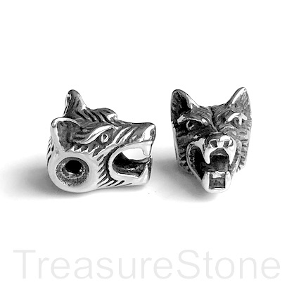 Bead, stainless steel, 15x11mm wolf head. Ea