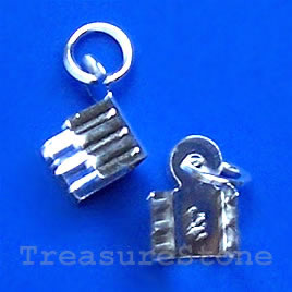 Cord end,sterling silver,8x4mm rectangle with ring.Sold per pair