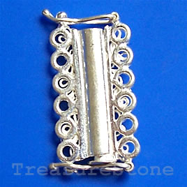 Clasp, 6-strand slide lock, sterling silver, 23x12mm. One pair.