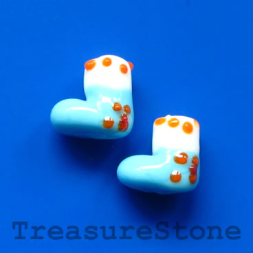 Bead, lampwork, light blue, 13mm Christmas stockings. Pkg of 5.